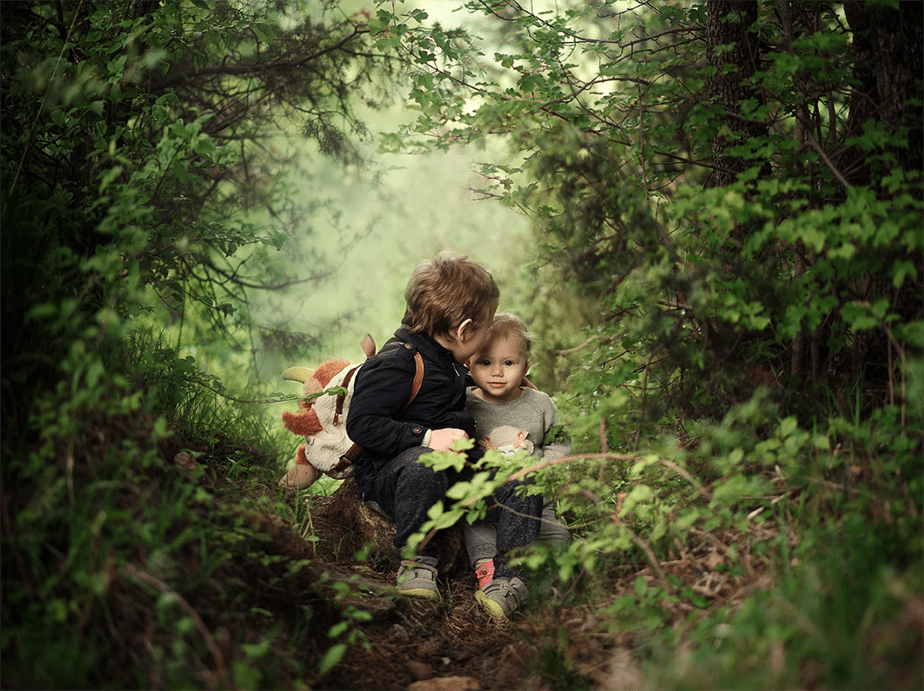 kids sitting on forest