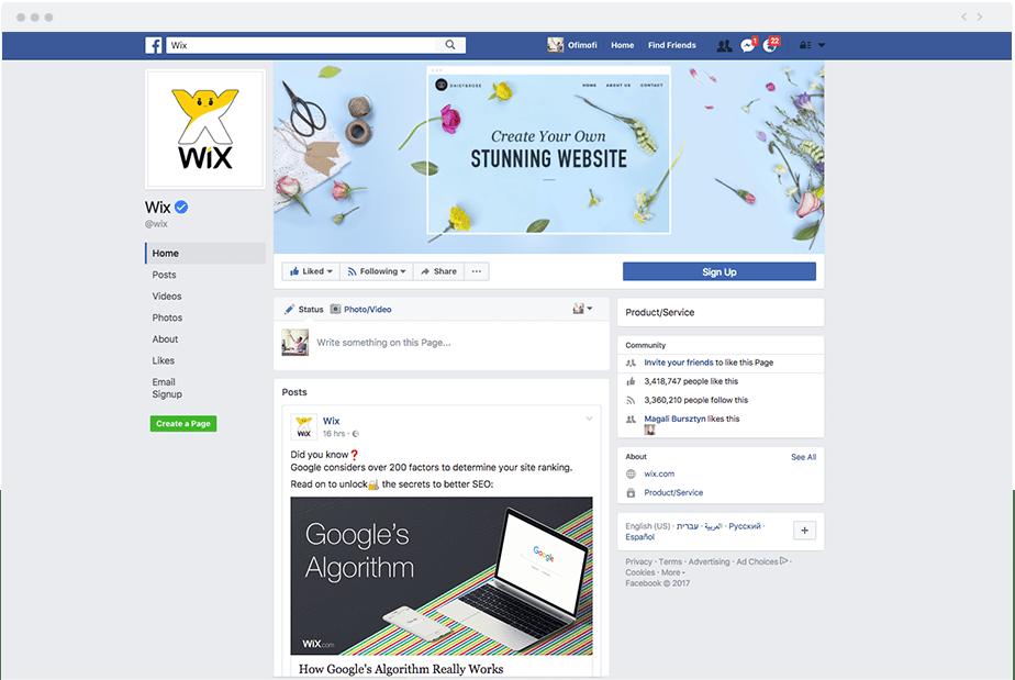 Wix's Social Channels