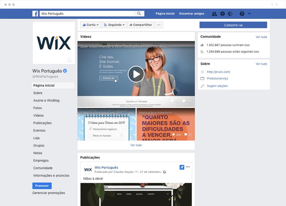 A Página do Wix no Facebook