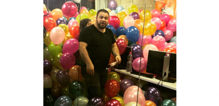 Balloon office prank