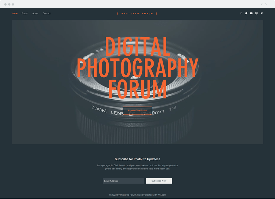Wix Template - Photography Forum