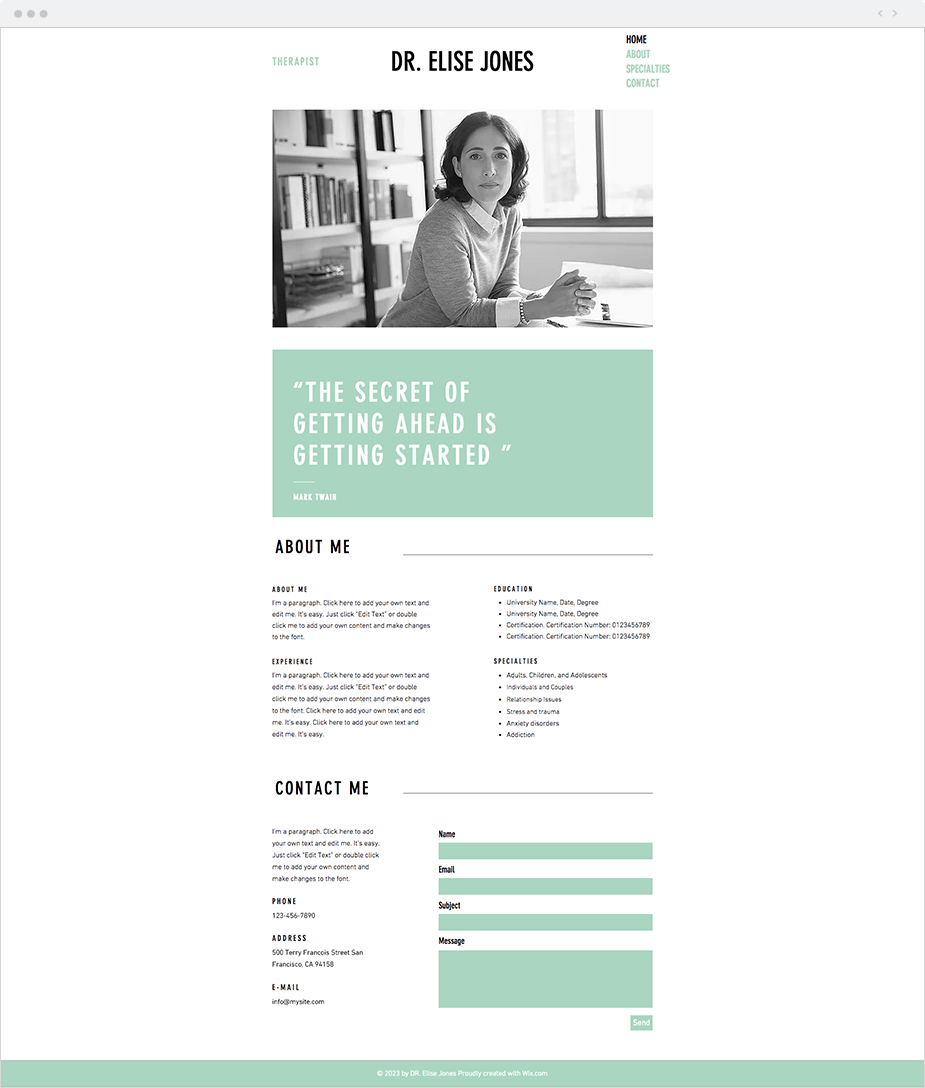 Wix Website Templates: Therapist