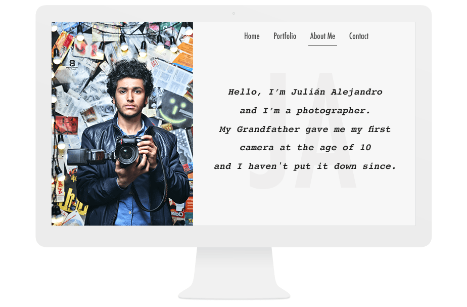 About me page example with a short bio