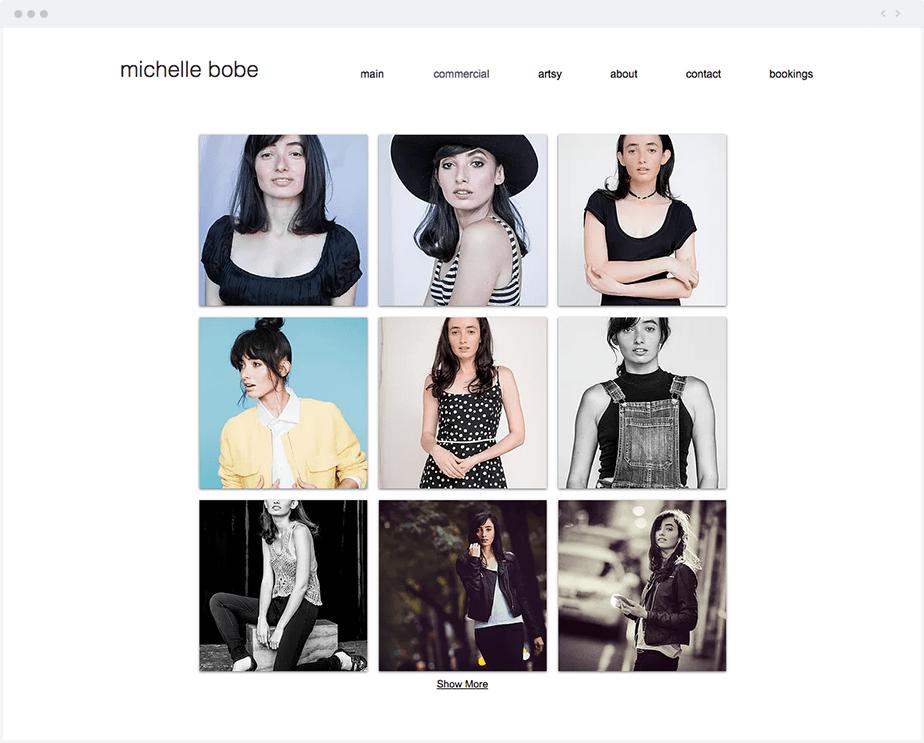 Site Wix da Modelo Michelle Bobe