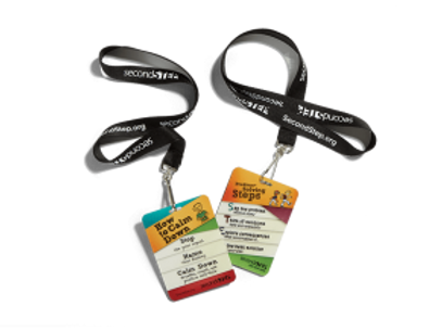 Pack of 10 Calm Down, Problem Solving STEP Reminder Lanyards