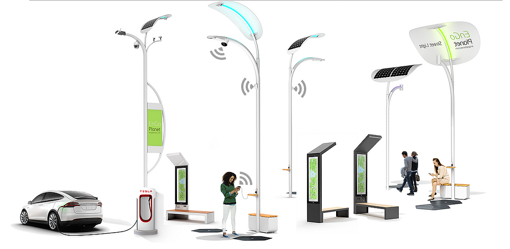 smart solar street lights and smart solar benches