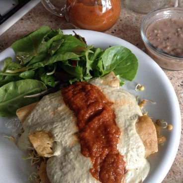 Enchiladas de champiñones y germinados