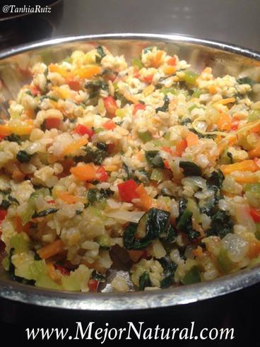 Arroz almendrado con vegetales