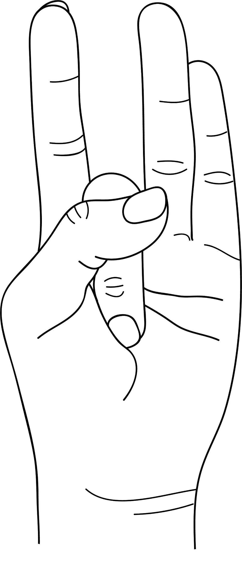 Mudra of Emptiness (Shunya Mudra) -   Bend the middle finger and place it at the ball of the thumb – then press it with the thumb.