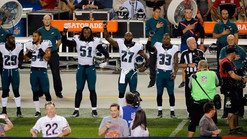 Malcolm Jenkins and two other Philadelphia Eagles players raised their fists during the  anthem (Sal