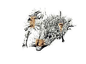 Tête d'animal dans le paysage