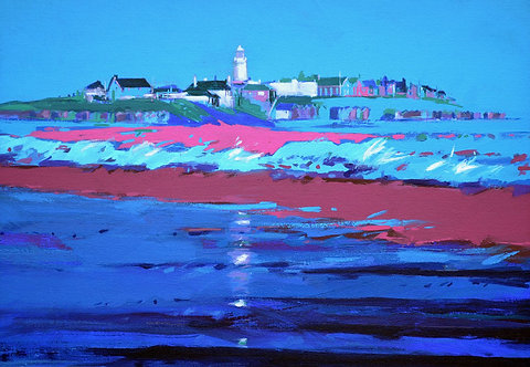 Blue Pink Wave Southwold - Signed Giclée Print