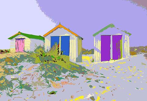 Soft Beach Huts - Signed Giclée Print