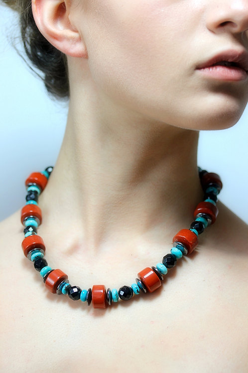 Jasper, Onyx, turquoise bead necklace