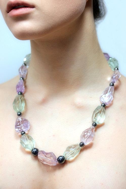 Amethyst , Prasiolite and hematite bead necklace