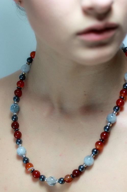 Tourmalinated quartz,Hematite,Carnelian bead necklace