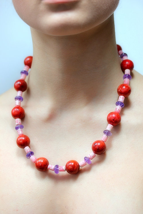 Red, pink and purple bead necklace