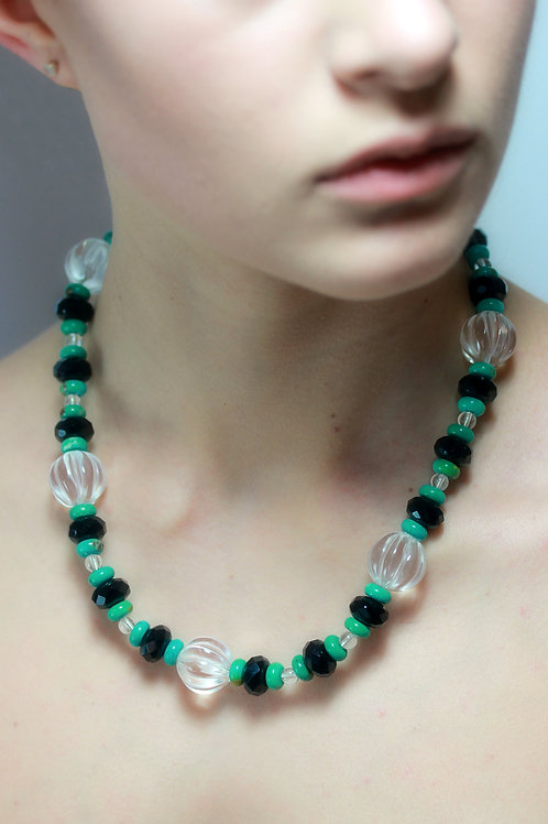Rock crystal, onyx and turquoise bead necklace