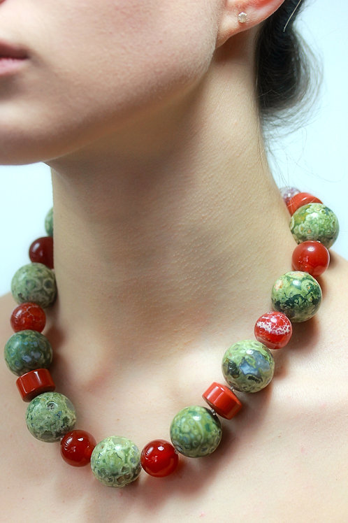 Rainforest Rhyolite, Jasper and Carnelian necklace