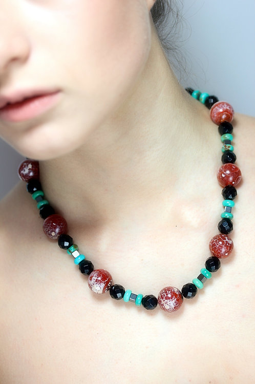 Red Cracked Agate,Hematite, Onyx and Turquoise bead necklace