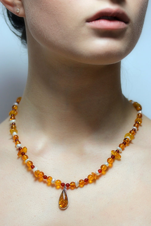 Amber, Garnet and Pearls