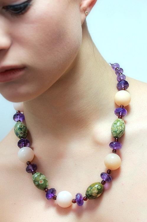 Pink Opal,Rain Forest Rhyolite, Amethyst bead necklace