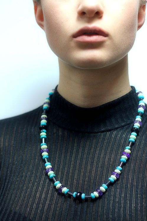 Amethyst,Turquoise and Hematite bead necklace