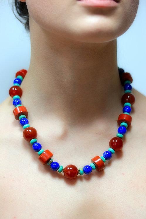 Jasper,Carnelian and Lapis bead necklace