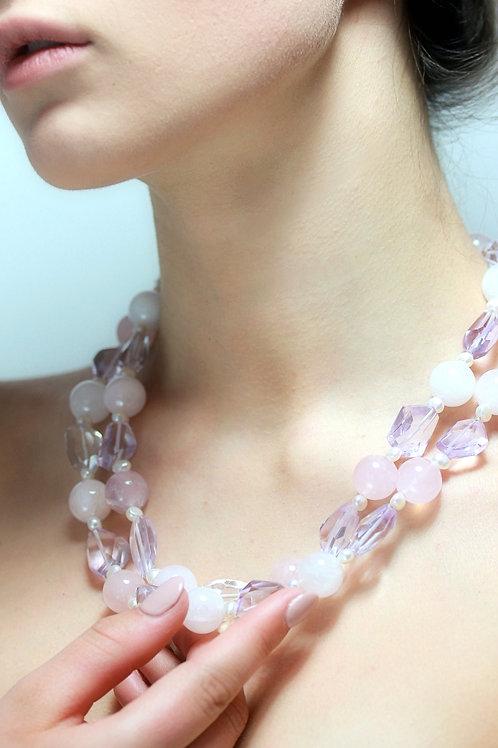 Rose quartz and amethystd bead necklace