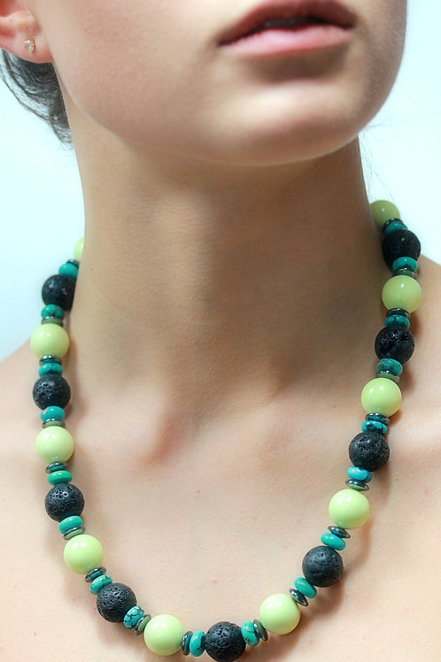 Yellow, black and turquoise bead necklace