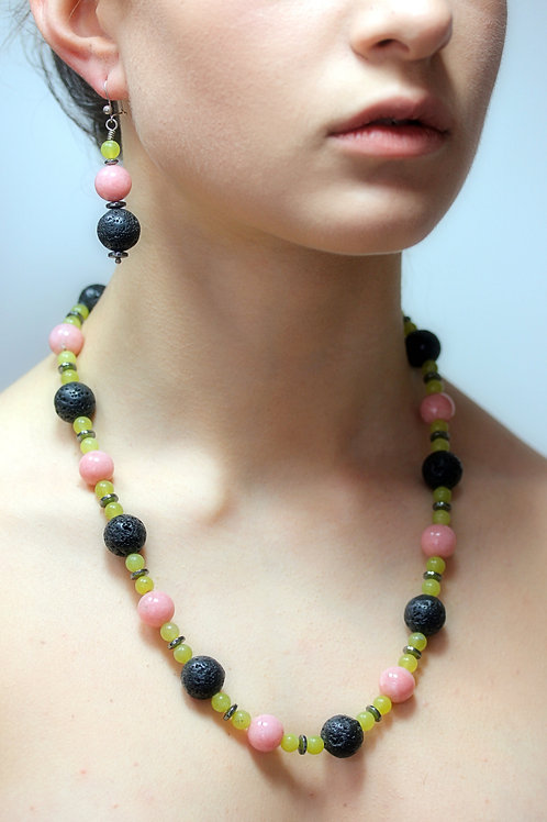 Lava, Olive Jade, Pink Opal,Hematite bead necklace