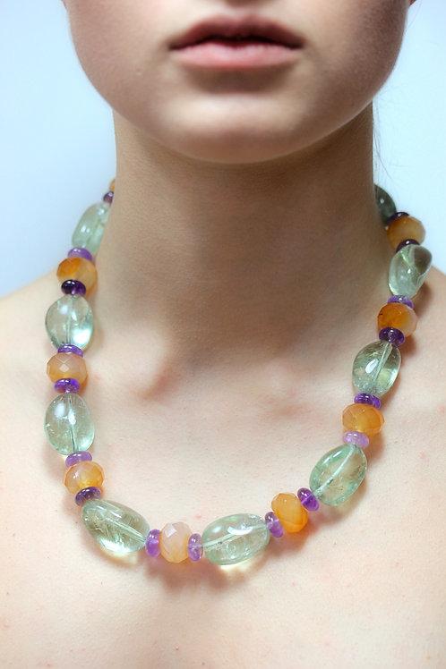 Prasiolite, carnelian and amethyst bead necklace