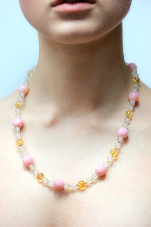 Rock crystal, pink opal and citrine bead necklace