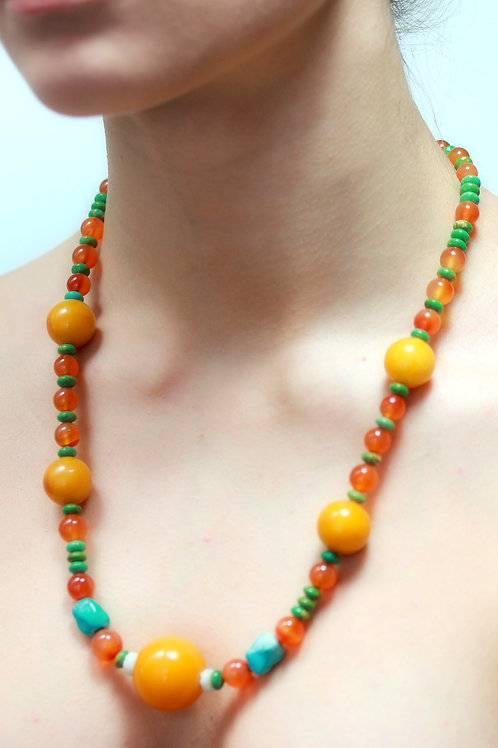 Amber and turquoise bead necklace