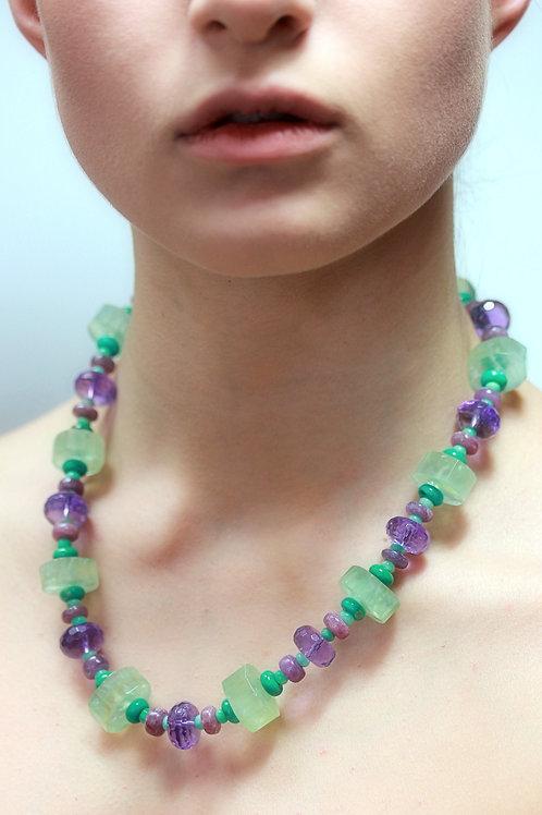 Prenite, amethyst, turquoise bead necklace