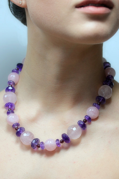 Rose quartz and Amethyst beads necklace