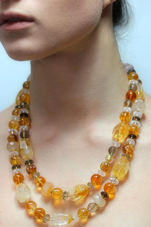 Double citrine and smokey quartz bead necklace