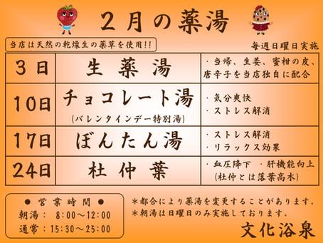 【2019年2月】日曜薬湯のご紹介