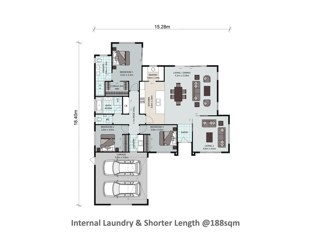 Internal Laundry & Shorter Length @188sqm