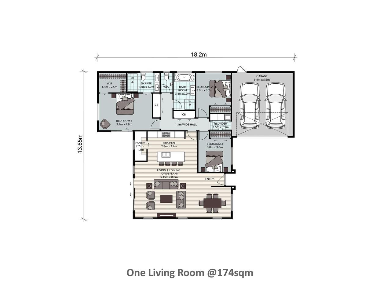 One Living Room @174sqm