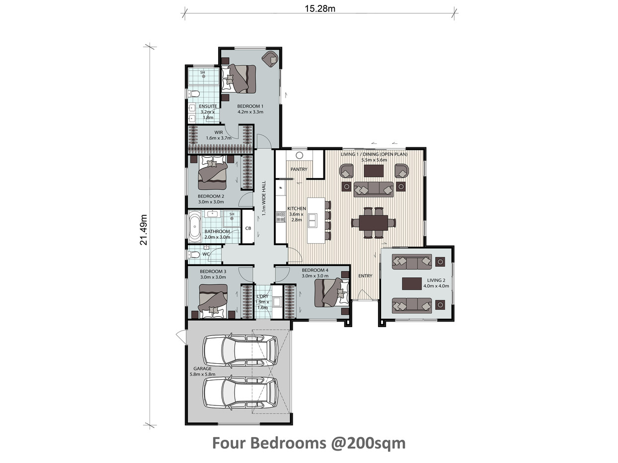Four Bedrooms @200sqm
