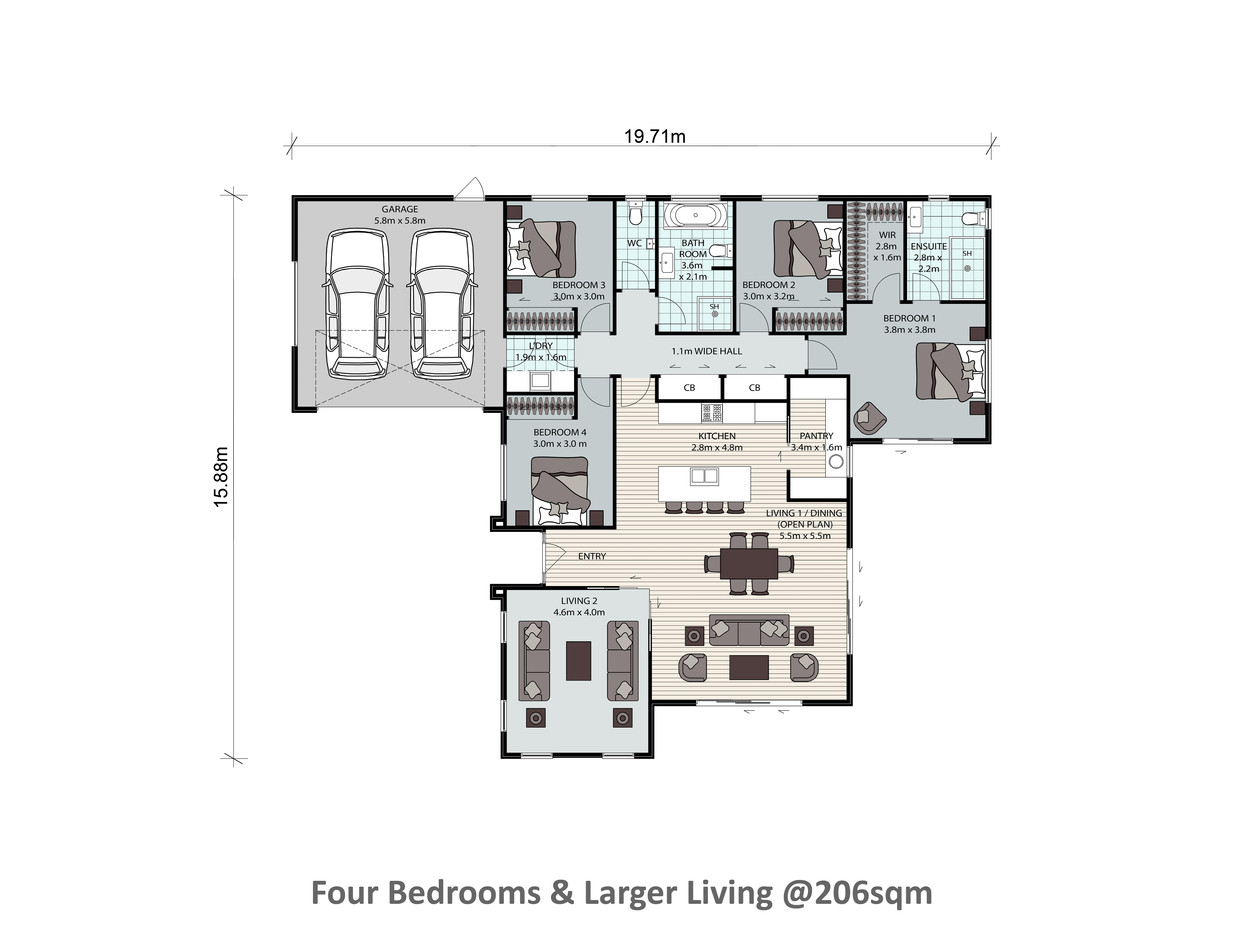 Four Bedrooms & Larger Living @206sqm
