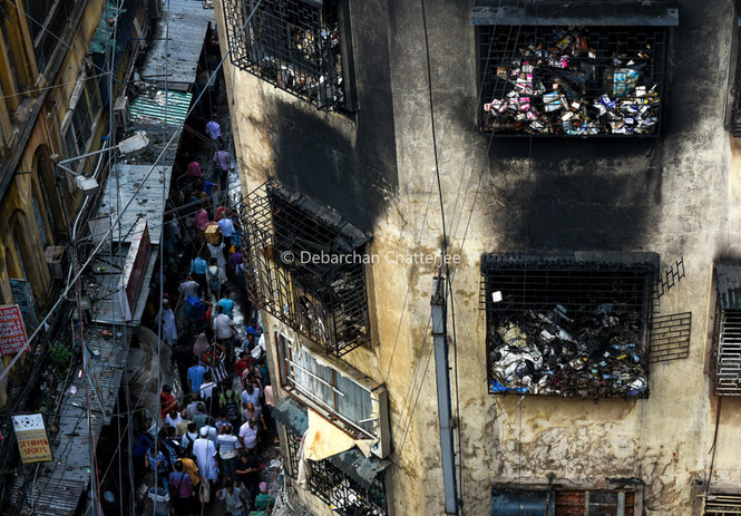 Burned goods hang from windows of Bagree market.