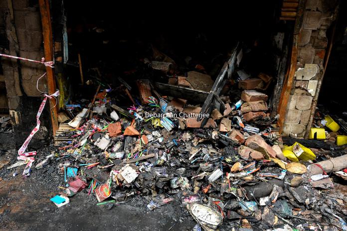 Burned goods of Bagree market.