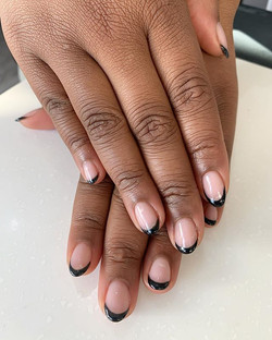 Love this black French. nails by Gennie.