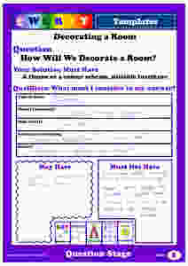 Completed Question Form for Decorating a Room