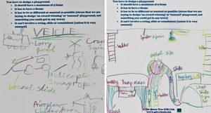 Hand-drawn playground designs from later in the session