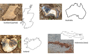 shaped objects and country outlines