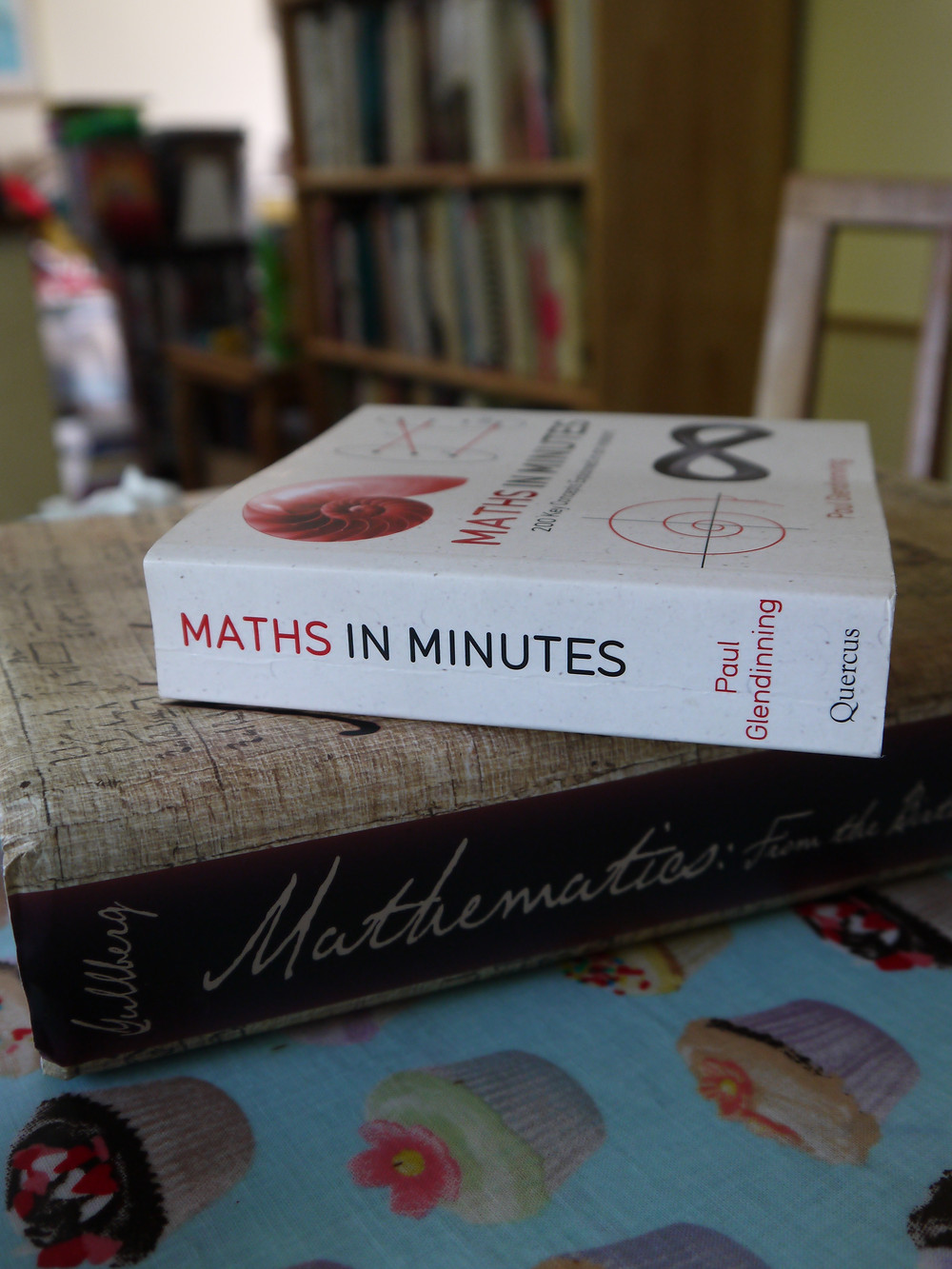 Two maths non-fiction books and a bookshelf