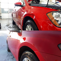 Before and afte dent repair